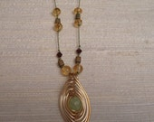 Gold, Burgundy, and Green Silk Cord Necklace