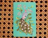 soft colorful PEACOCK Vintage Playing Cards...set of 5