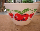 Large White Pyrex Bowl with RED Cherries/Cottage Chic-Retro '50's