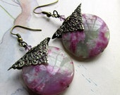 Purple Dangle Earrings, Purple Jasper Stone Earrings with Antiqued Gold Filigree , Purple Jewelry