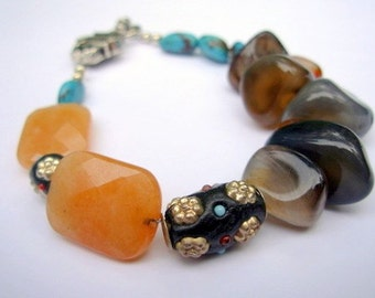 Beaded Bracelet, Turquoise and Natural Stone, Bohemian Jewelry