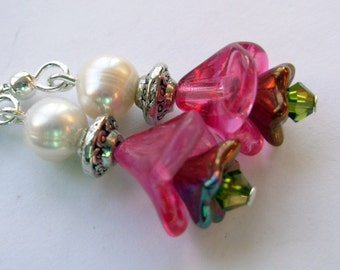 Pink Dangle Earrings with Pearls,  Sterling Silver ear wire, bohemian Jewelry, Bridesmaid Gift
