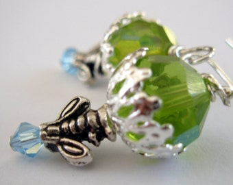 Silver Dangle Earrings with Bumble Bee and Green Crystal, Beaded Earrings