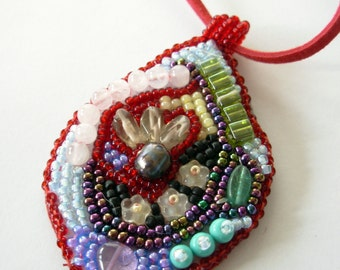 Pendant  Necklace Bead Embroidered with Seed Beads & Gemstones, Gift Ideas