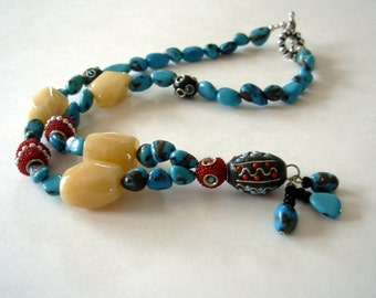 Turquoise Necklace, Turquoise Beaded Jewelry