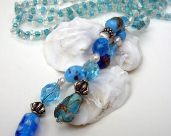Lariat Necklace, Turquoise  Blue Beaded  Necklace, Long  Necklace, Bohemian Jewelry