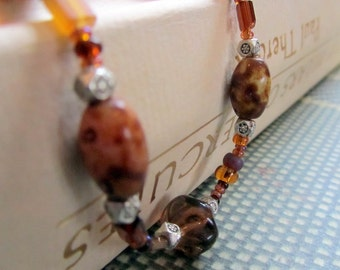 Brown Beaded Bracelet,  Earth Tones,  Gift Ideas