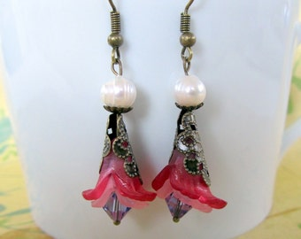 Pink Dangle Earrings with  Flowers,   Victorian Jewelry