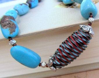 Turquoise Beaded Necklace Lampwork Glass Bead, Bohemian Jewelry, Turquoise Jewelry