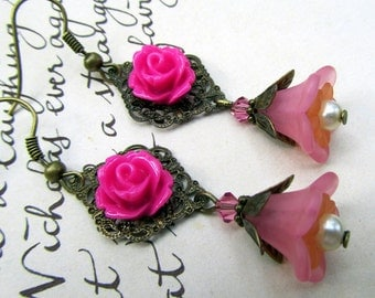 Pink Chandelier Earrings, Victorian Jewelry