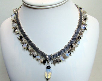 Silver Statement Necklace with Gemstones, beaded Necklace,  Unique Jewelry