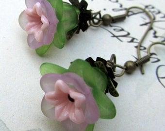 Flower Dangle Earrings, Green & Lavender, Victorian Jewelry