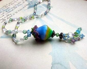 Beaded Y Necklace, Pastel Lampwork Glass Bead Pendant, Tassel Necklaces,  Blue, Green, Purple   Unique Jewelry