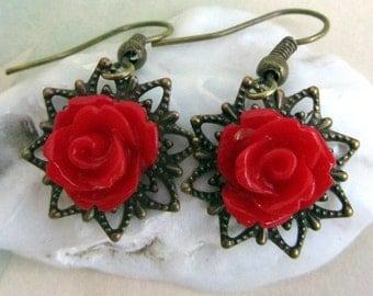 Red Rose Earrings, Red Dangle Earrings, Unique Jewelry
