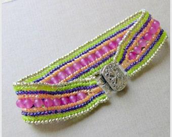 Beaded  Bracelet, Woven Bracelet, Colorful Friendship Bracelet,  Green, Purple, Peach, Pink,  Seed Bead Cuff Bracelet