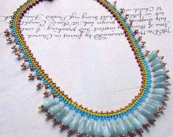 Bib Necklace with Aqua Stones, Swarovski Crystal, Blue and Yellow Seed Bead Jewelry, Statement Jewelry