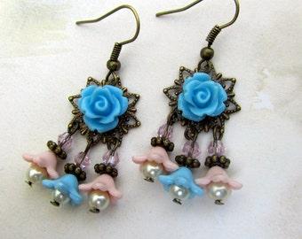 Blue Chandelier Earrings,  Bohemian Jewelry Blue Flowers