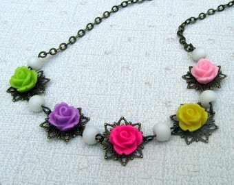 Bib Necklace, Bohemian Jewelry, Colorful Flower Necklace