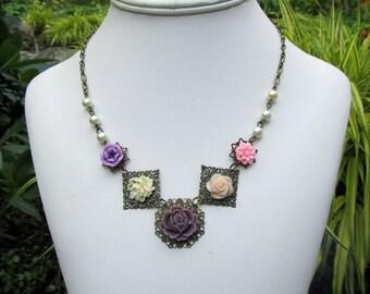 Earth Tone Bib Necklace, Vintage Style Charm Necklace,  Bohemian Jewelry, Flower Jewelry