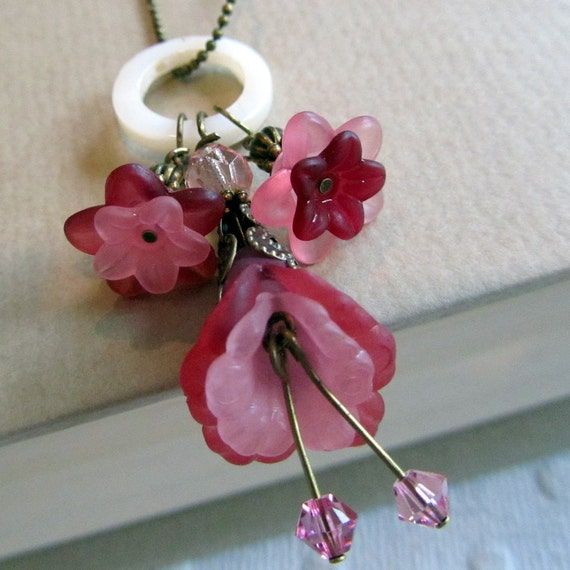 Pink Flower Necklace, Vintage Style Jewelry
