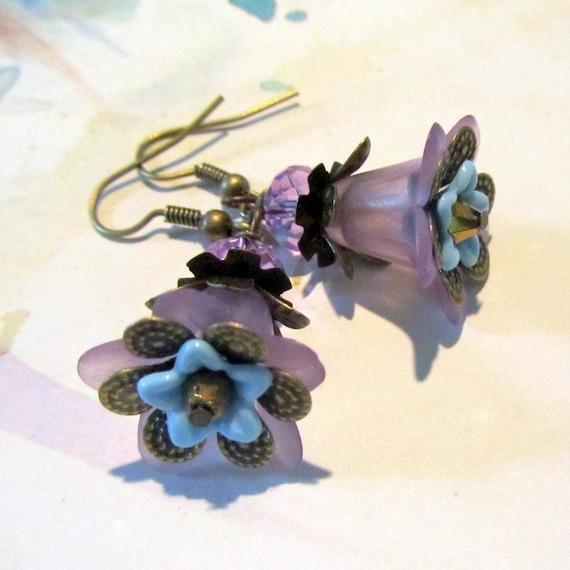 Purple Drop  Earrings,  Flower Victorian Jewelry