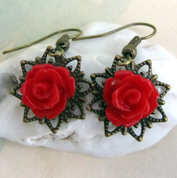 Red Rose Earrings, Red Dangle Earrings, Unique Jewelry