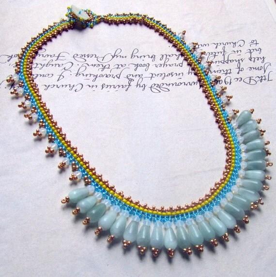 Bib Necklace with Aqua Stones, Swarovski Crystal, Blue and Yellow Seed Bead Jewelry, Statement Jewelry
