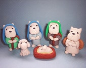 Westie Nativity Scene - Christmas Decoration- Set of Six - Late February Thru March Delivery
