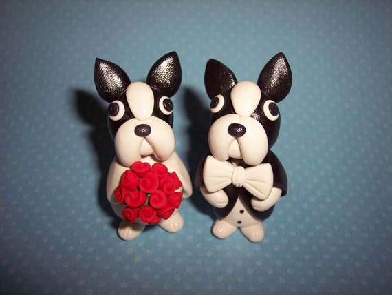 Large 3 inch Boston Terrier Wedding Cake Toppers