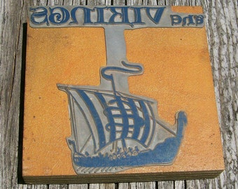Letterpress - Block - the Vikings - Over 4 inches tall - One Item - Lot 313