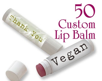 50 Custom Vegan Lip Balm - Full Color - As many designs as you want!
