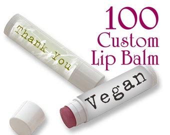 100 Custom Vegan Lip Balm FULL COLOR (multiple designs ok)