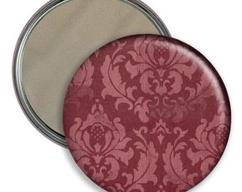 Damask Patterned 2.25 Inch Round Pocket Mirror YOU PICK COLOR
