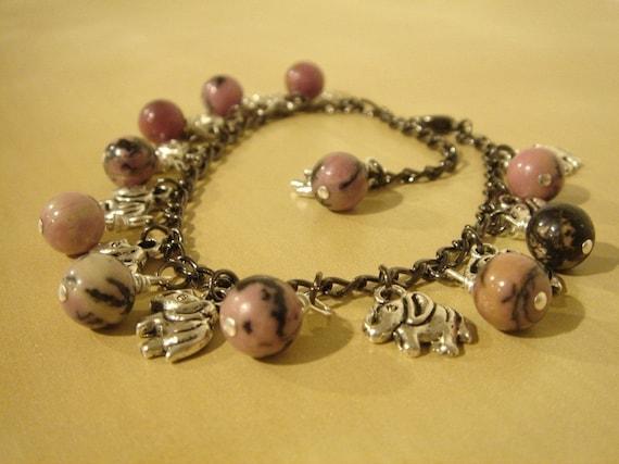 Pink Elephant Charm Bracelet