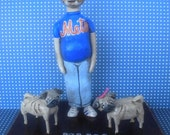 Father's Day Husband Dad Custom Figure with dog - paper clay folk art  sculpture