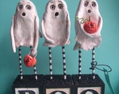 Ghost Trio-paper clay sculpture set-MADE TO ORDER
