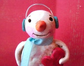 Sale-Snowman with Turquoise Ear Muffs-folk art sculpture-READY TO SHIP