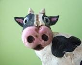 Folk Art Cow- clay sculpture
