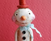 Vintage Look Snowman with Heart-paper clay folk art heart-As Seen in Holidays and Celebrations Magazine
