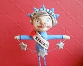 Lady Liberty with String of Stars-American Folk Art