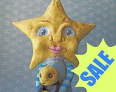 Mrs. Star paper clay folk art sculpture READY TO SHIP