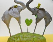 Lime, Grass green and Grey Elephants in love clay folk art sculpture