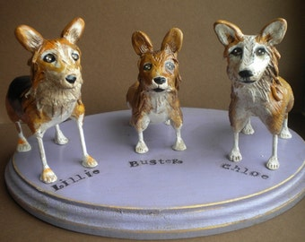 Customize your pets Three Dogs folk art sculpture based on your photos