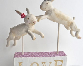 Love Bunnies clay folk art sculpture