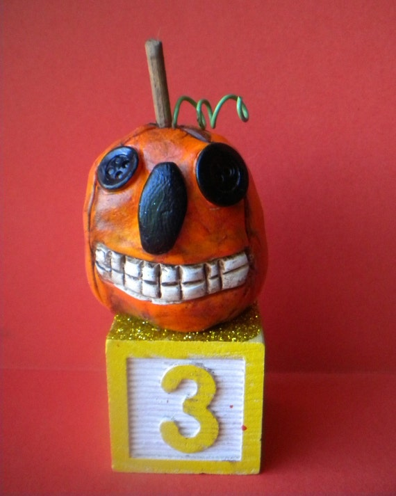 Button Eyed Halloween Pumpkin-folk art-READY TO SHIP