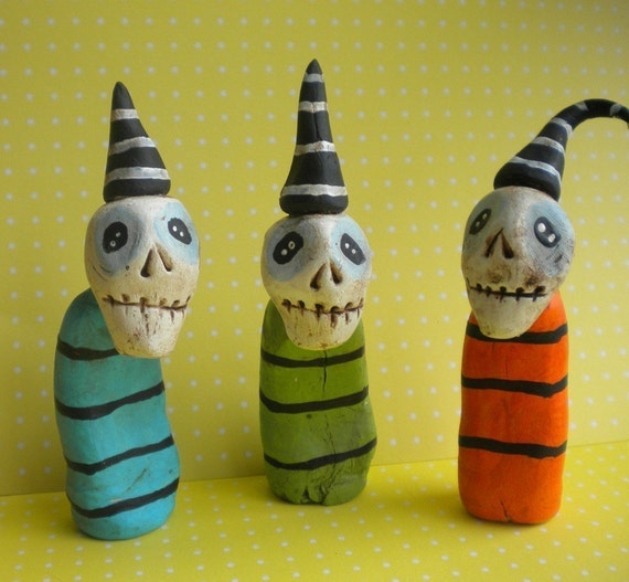 Colorful Skeleton Trio-clay folk art sculpture-Halloween Decoration