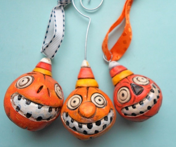 Candy Corn Smiling Jack Trio- Halloween Ornaments