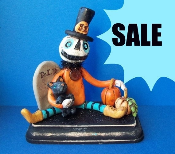 Sale Pumpkin Man with Tombstone clay folk art sculpture READY TO SHIP