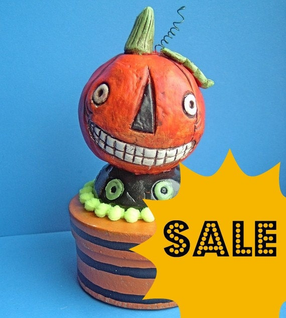 sale Orange Jack O' Lantern Trinket Box Halloween Folk Art