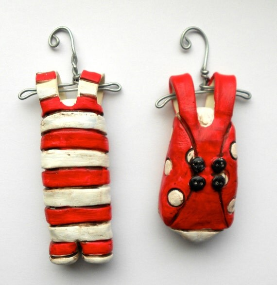 Red and White Bathing Suit Set Old Fashioned Look clay folk art